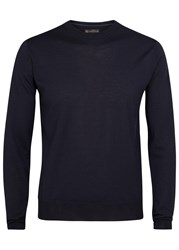 Corneliani Navy Fine Knit Wool Jumper