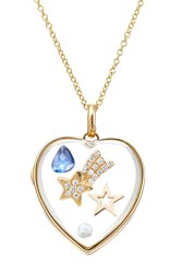 Loquet 14Kt Heart Locket With Sapphire Pearl And Diamonds Multicolor