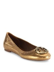 Tory Burch Reva Sequin Leather Ballet Flats Copper