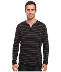 Kenneth Cole Marl Stripe Henley Black Men's Clothing