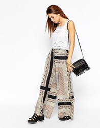 Glamorous Wide Leg Trousers In Border Print Multi