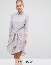 Closet London Tie Front Dress With Long Sleeve Mink Brown