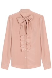 Red Valentino Silk Bow Blouse Rose