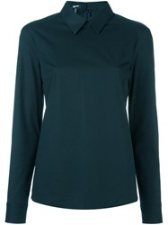 Jil Sander Navy Classic Collar Blouse Blue