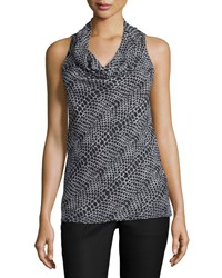 A.Z.I. Cowl Neck Printed Tank Black White