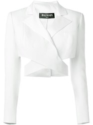 Balmain Cut Out Detail Cropped Jacket White