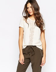 Y.A.S Short Sleeve Shirt With Lace Inserts White
