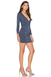 Bobi Jersey Long Sleeve Cross Front Mini Dress Slate