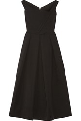 Preen Finella Pleated Stretch Crepe Midi Dress Black