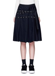 Sacai Stud Mock Wrap Wool Melton Skirt Black
