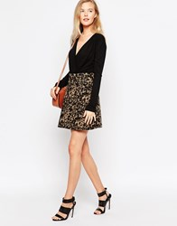 Ganni Cream And Black Print Skater Skirt Cream And Black