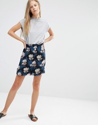 Ganni Park Row Georgette Floral Print Shorts Autumn Flower Multi