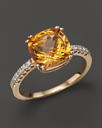 Bloomingdale's 14K Yellow Gold Diamond And Citrine Cushion Ring