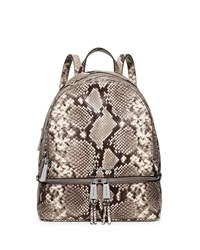 Michael Michael Kors Rhea Embossed Leather Backpack Natural