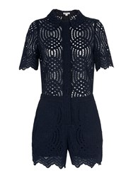 Whistles Clementine Lace Playsuit Navy
