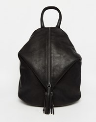 Asos Front Zip Backpack With Dog Clip And Tassel Black