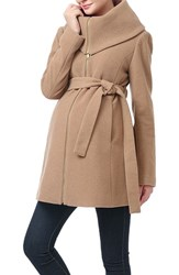 Kimi And Kai Women's 'Mia' High Collar Maternity Coat Camel