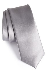 The Tie Bar Men's Solid Silk Skinny Silver