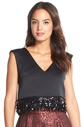 Tracy Reese Embellished Hem Crop Top Black