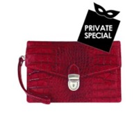 L.A.P.A. Cherry Croco Embossed Leather Clutch
