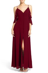 Lulus Women's Lulu's Off The Shoulder Front Slit Chiffon Gown Burgundy