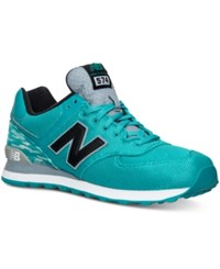 New Balance Men's 574 Summer Waves Casual Sneakers From Finish Line Teal White