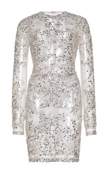 Zuhair Murad Short Jewelry Embroidered Tulle Dress Metallic