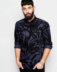 Asos Oversized Shirt With Long Sleeves In Leaf Print Navy