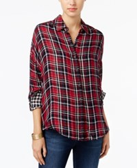 William Rast Aster Plaid Shirt Red Black