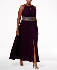 R And M Richards Plus Size Embellished Waist Dress Eggplant