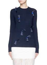 3.1 Phillip Lim Fringe Embellished Wool Yak Cashmere Sweater Blue