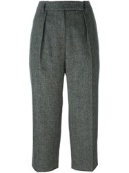 Brunello Cucinelli Front Pleat Cropped Trousers Black