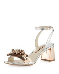 Sophia Webster Lilico Floral Leather Mid Heel Sandal Silver Rose Gold Women's