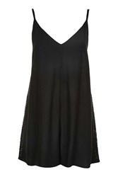 Topshop Crochet Insert Playsuit Black