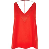 River Island Womens Bright Red T Bar Cami