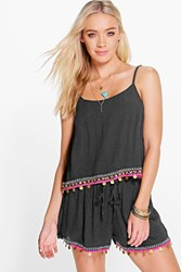 Boohoo Boutique Coin And Embroidery Beach Top Black