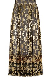 Etro Metallic Silk Blend Jacquard Maxi Skirt Gray