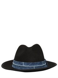 Diesel Felt Fedora Hat With Denim Hatband