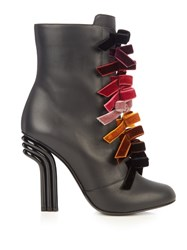 Marco De Vincenzo Velvet Bows And Leather Ankle Boots Black Multi