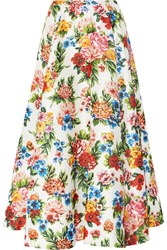 Eleanor Floral Print Basketweave Maxi Skirt White Pink