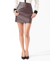 Forever 21 Essential Faux Leather Skirt Brown