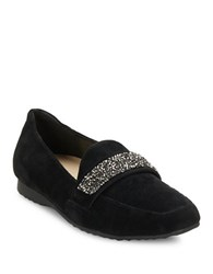 Karl Lagerfeld Quincey Embellished Suede Loafers Black