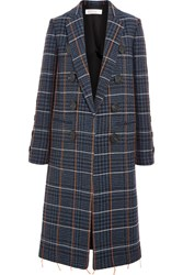 Victoria Beckham Embroidered Houndstooth Wool Coat Navy