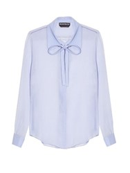 Rochas Neck Tie Silk Crepon Blouse Blue