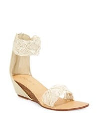 Cocobelle Lilly Embroidered Stacked Wedge Sandals Ivory