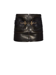 Anthony Vaccarello Pleated Panel Leather Skirt