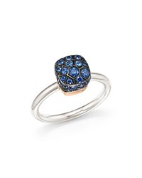 Pomellato Nudo Ring With Sapphire In 18K White And Rose Gold Blue Gold