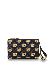 Moschino Quilted Bear Printed Clutch Black