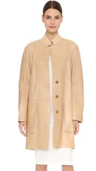 Donna Karan Long Sleeve Patch Pocket Trapeze Coat Pongee