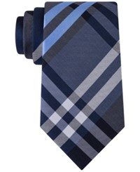 Kenneth Cole Reaction Men's Duo Plaid Tie Navy